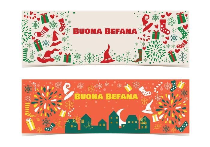 Bannière de Befana. Tradition de Noël italienne