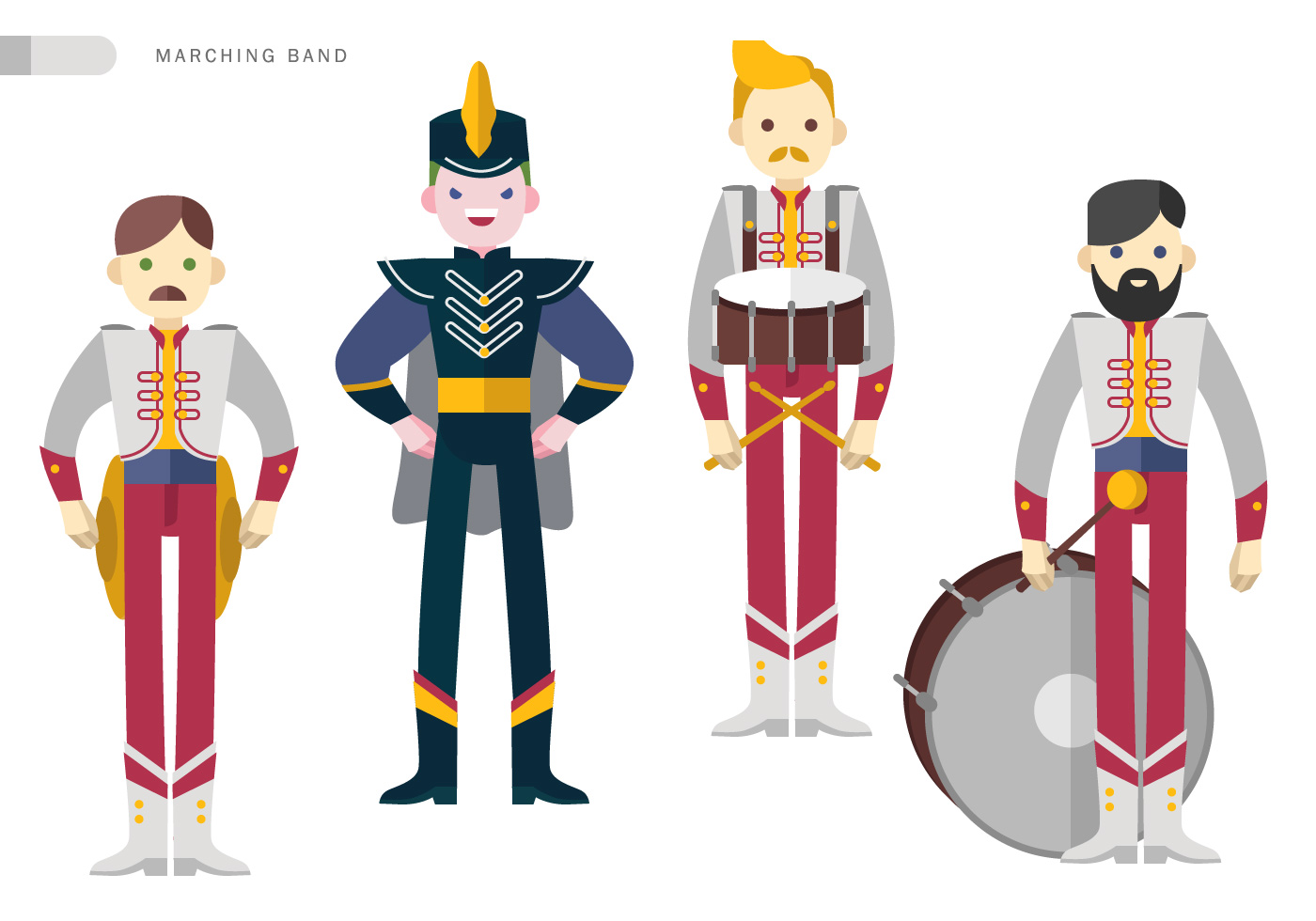 marching band squad vector flat illustration download