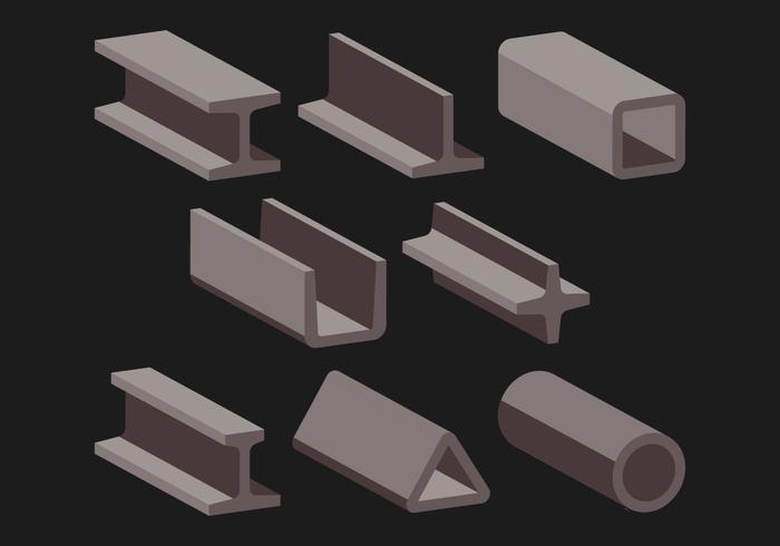 Set di icone di trave in acciaio vettore