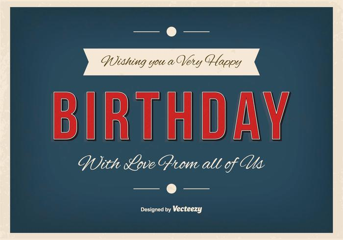 Ilustração tipográfica de feliz aniversario