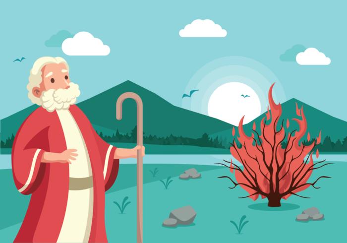 Ilustração vetorial de Moses and Burning Bush