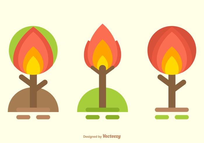 Abstract Flat Burning Bush Trees Vector Set