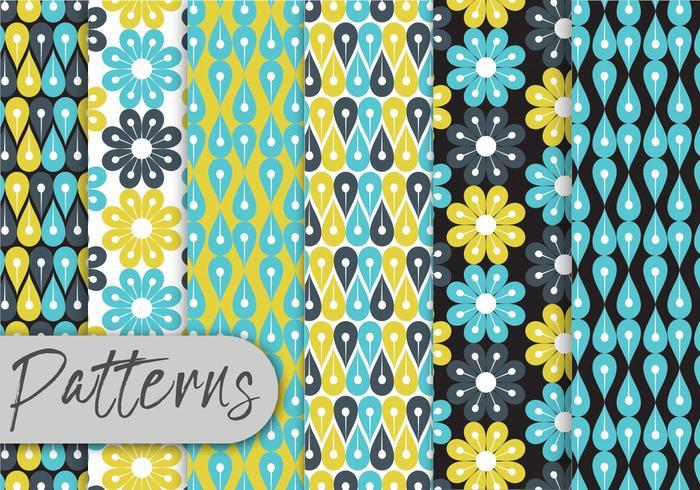 Blue Floral Geometric Pattern Set