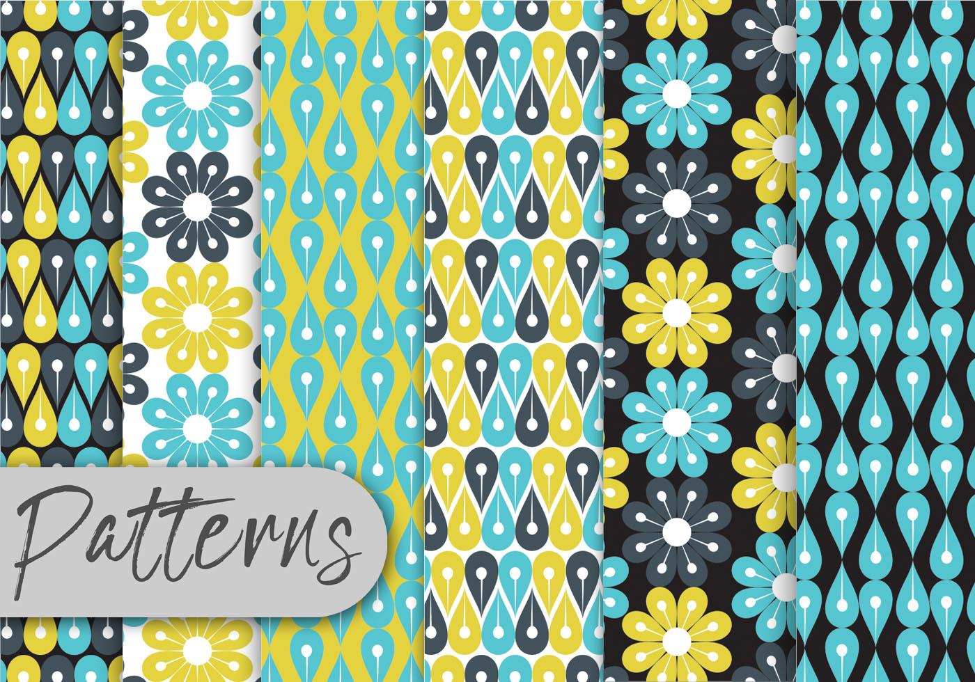Blue Floral Geometric Pattern Set Download Free Vectors