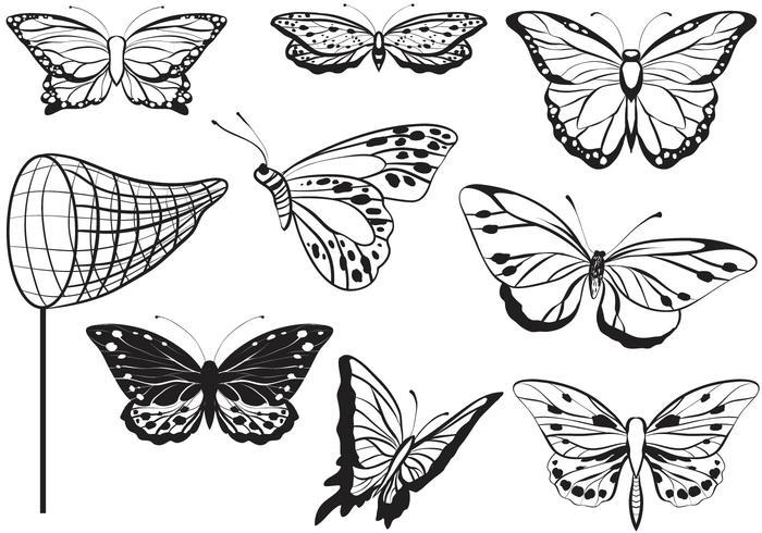 Libre captura de mariposas Vectores