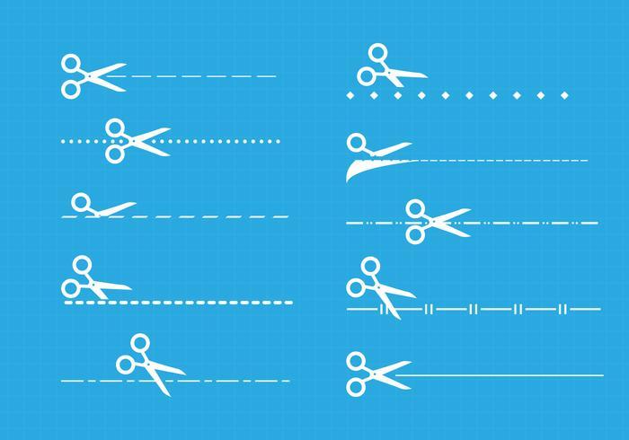 Knip hier pictogrammen vector