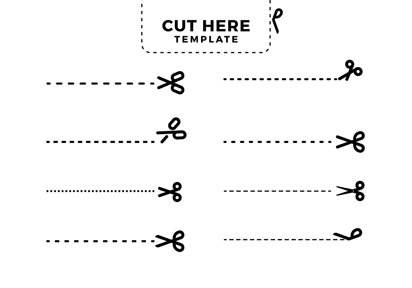 Cut Here Template Free Vector Download Free Vector Art