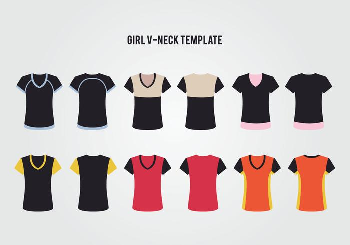 Frauen V-Ausschnitt T-Shirt Vektor