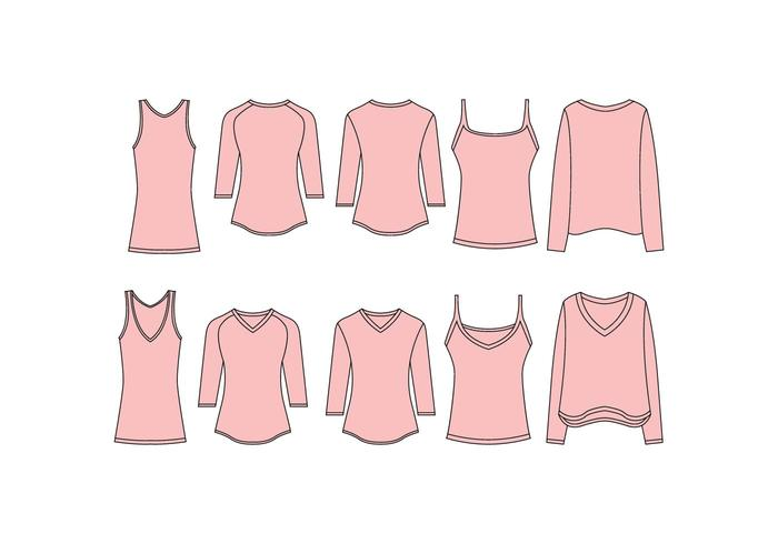 Free Women V Neck Shirt Template Vector