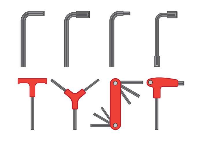 Allen Key Vector Icons Set