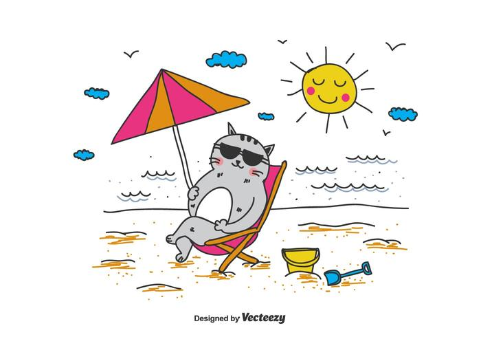 Cat In A Deckchair Vector