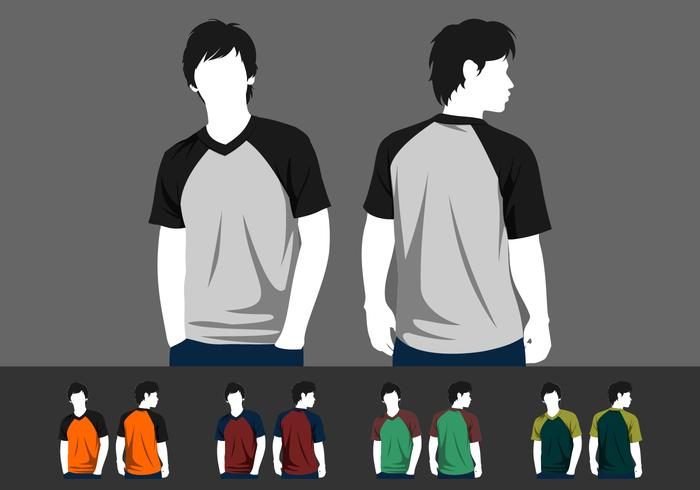 V-Neck Raglan Template Model Free Vector