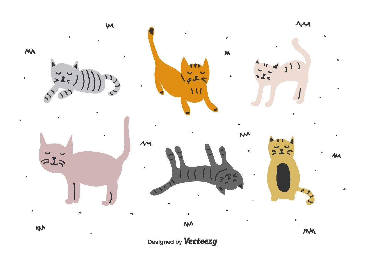 doodle cats vector set download free vector art stock