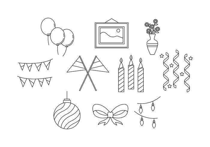 Free Party Decoration Line Icon Vector