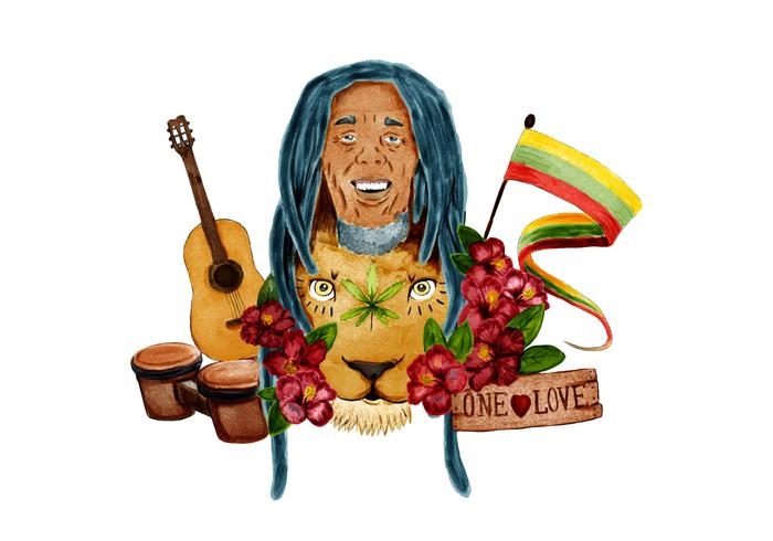 Bob Marley Com Jamaica Flat Lion Bongo Drum And Guitar
