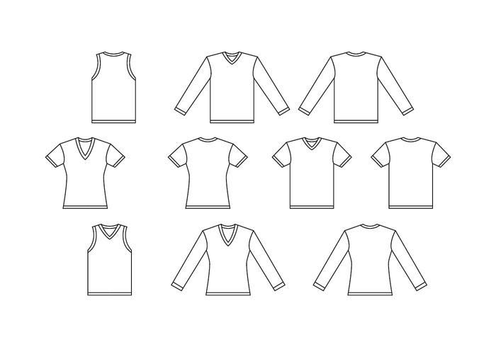 Free V Neck White  Shirt Template Vector