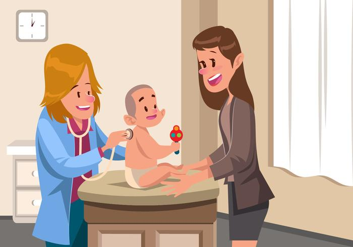 Routine Visit To Pediatrician Vector