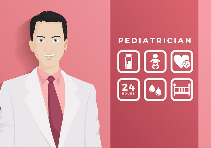 Pediatrician With Icon Free Vector