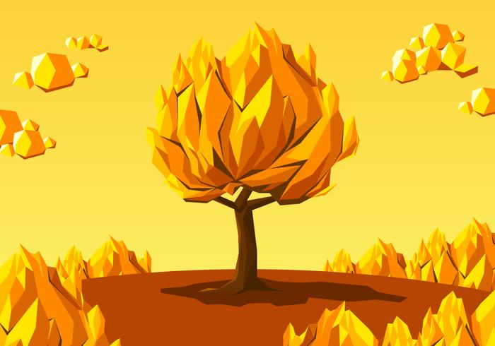 Low Poly Burning Bush Free Vector
