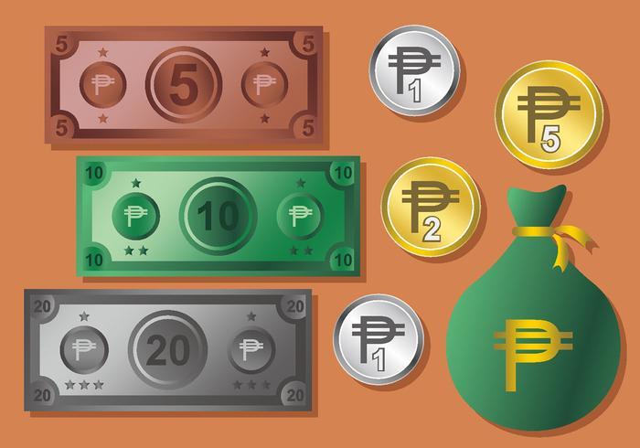Peso pengar vektor uppsättning