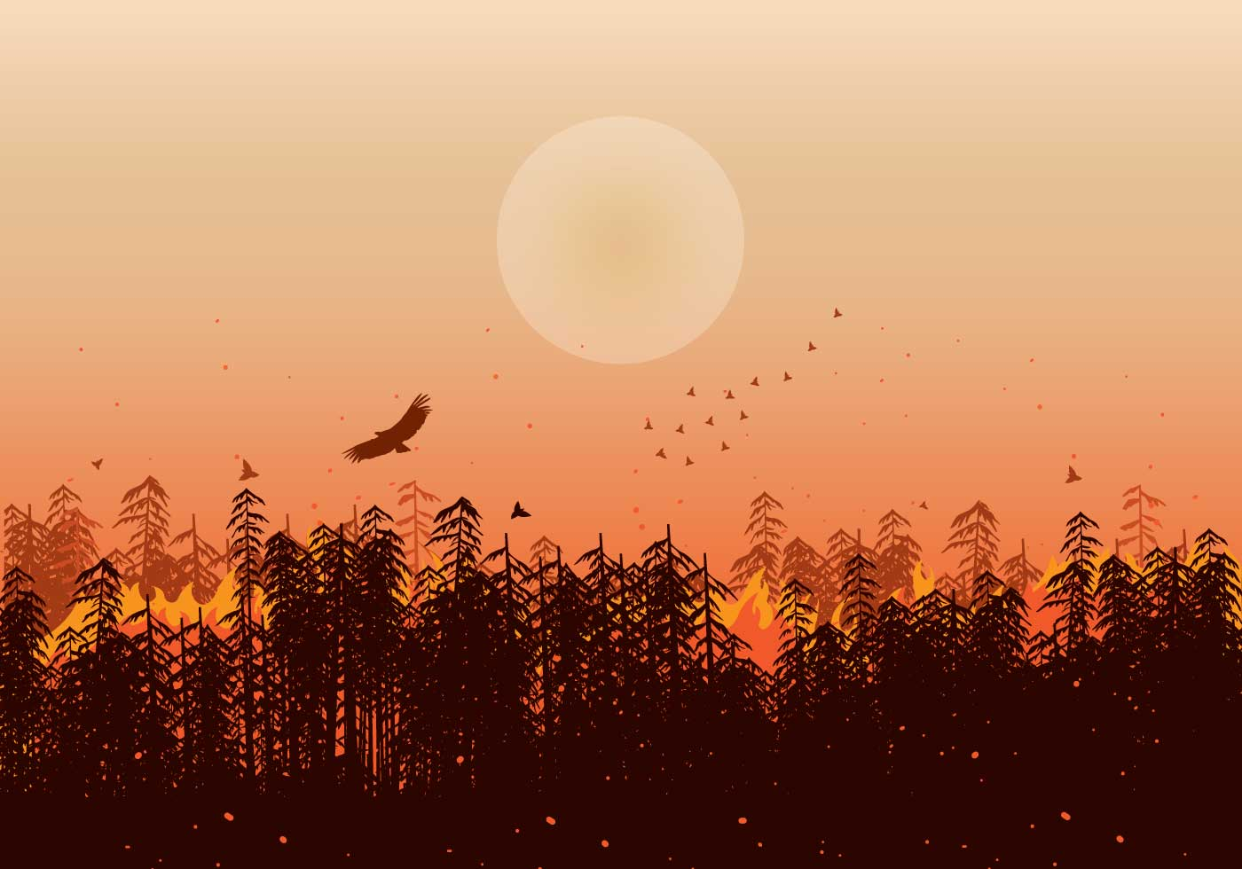 Forest Fires Illustration Silhouette Vector Download