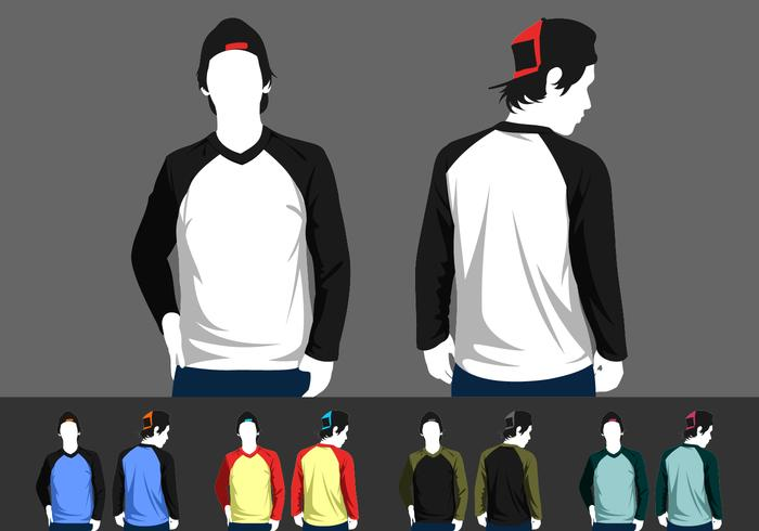 V-Neck Long Sleeve Raglan Model Vector
