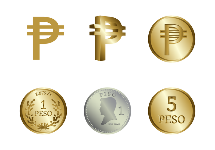 Gold And Silver Peso Vector