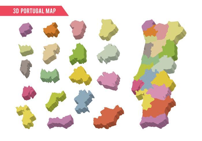Vettore della mappa di 3D Portogallo