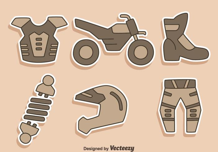 Motorcross Element Pictogrammen Vector
