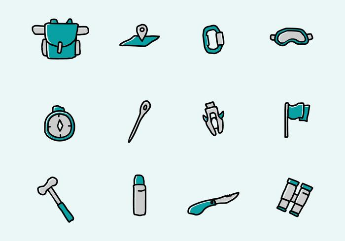 Alpinist Icons Free Vector