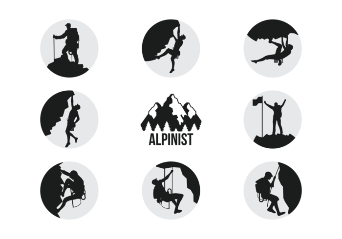 Alpinists Climbers Silhouettes Vector