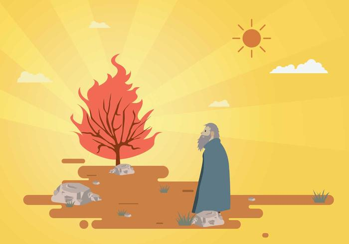 Moses gratuito e illustrazione di Bush Burning vettore