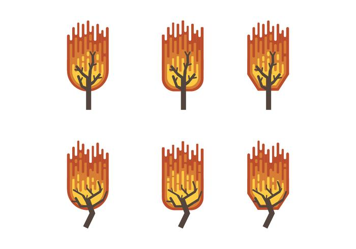Burning Bush Flat Vector Collection