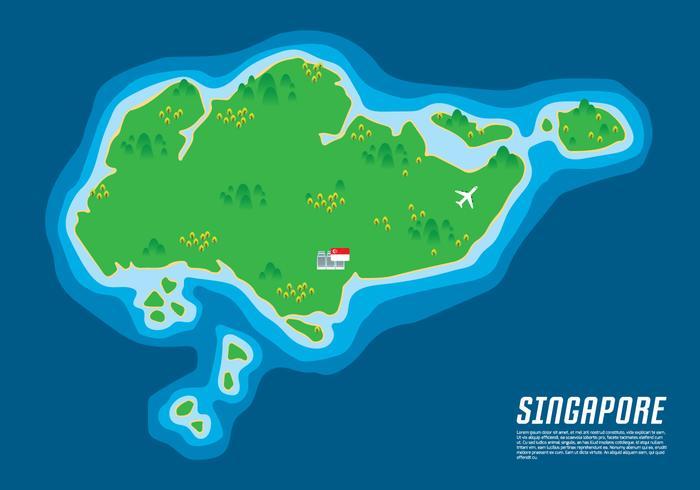 Singapore Kaart Illustratie