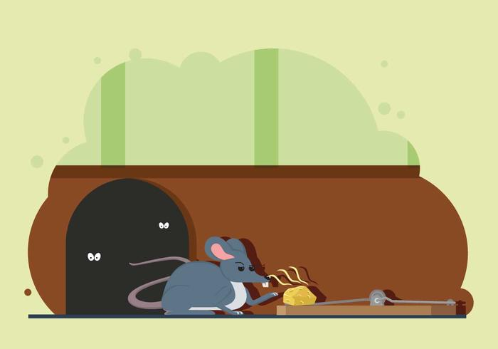 Free Mouse Try To Catch Cheese On Mouse Trap Illustration