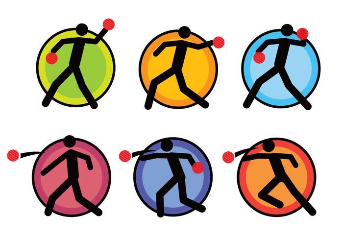Dodge ball pictogram icon set