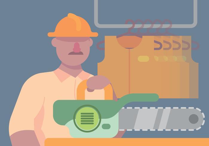 Tradesman And Chainsaw