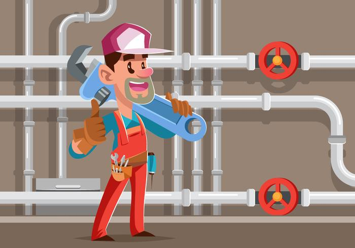 Vector Illustration Of A Tradesman Plumber
