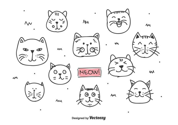 Doodle Cats Heads Vector