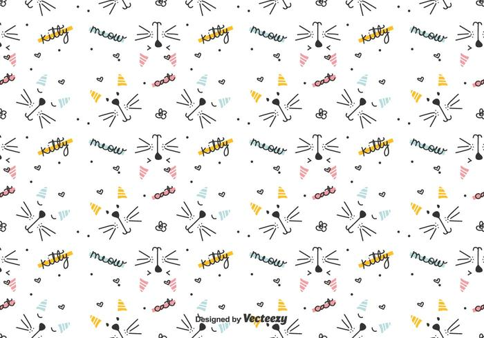 Graphical Cats Vector Pattern