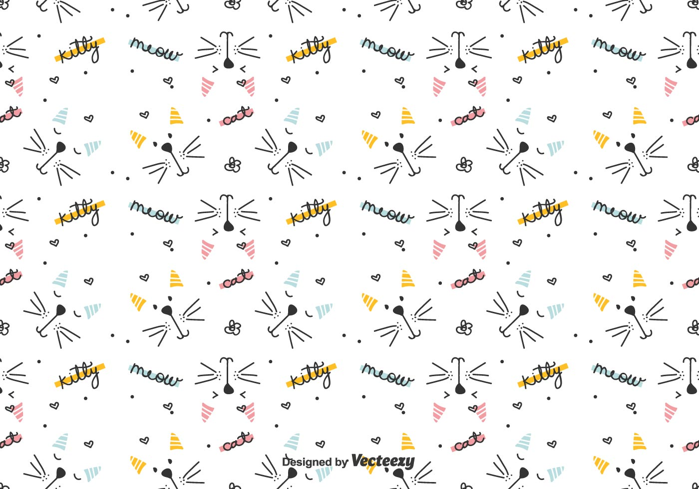 Graphical Cats Vector Pattern Download Free Vectors