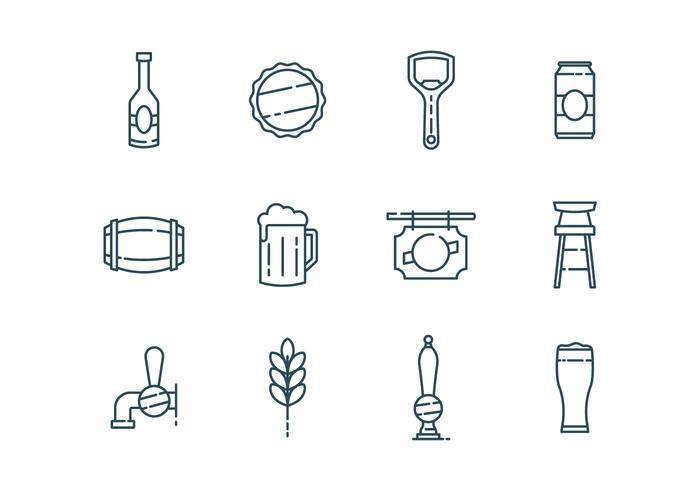 Icone di birra e bar vettore