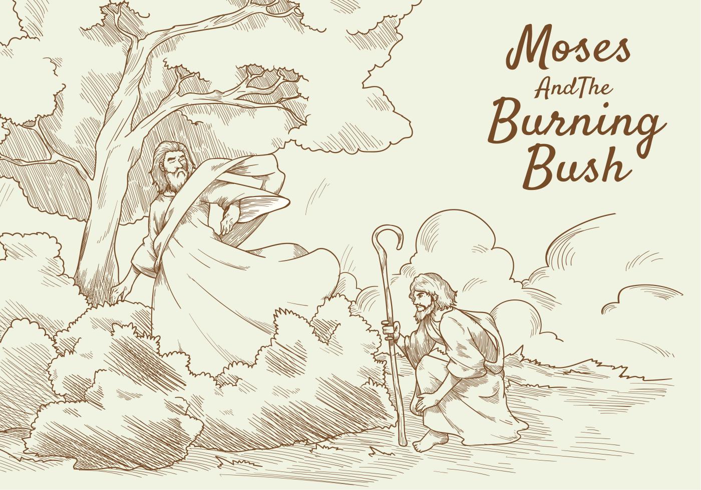 Moses And Burning Bush Vector Illustration Download Free