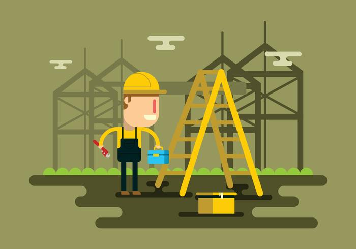 Tradesman Working In City Vector