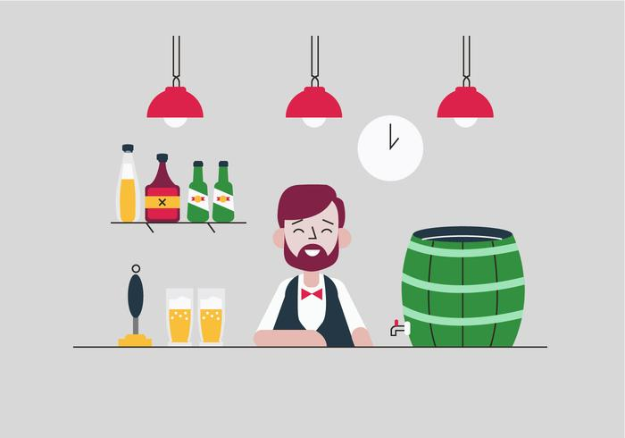 Bartender Smiling With Beer Pump Bar Vector Flat Illustration