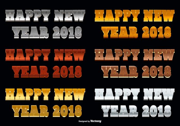 Happy New Year 2018 Glitter Text Illustration vector