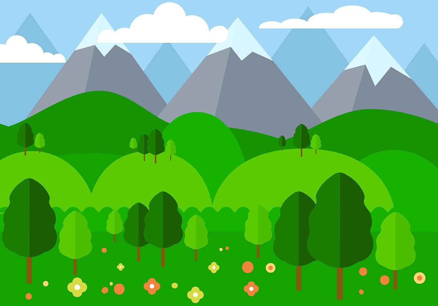 Landscape Illustration Vector Free: Free Flat Design Vector Landscape Illustration
