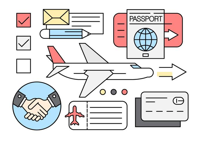 Linear Business Travel Icons