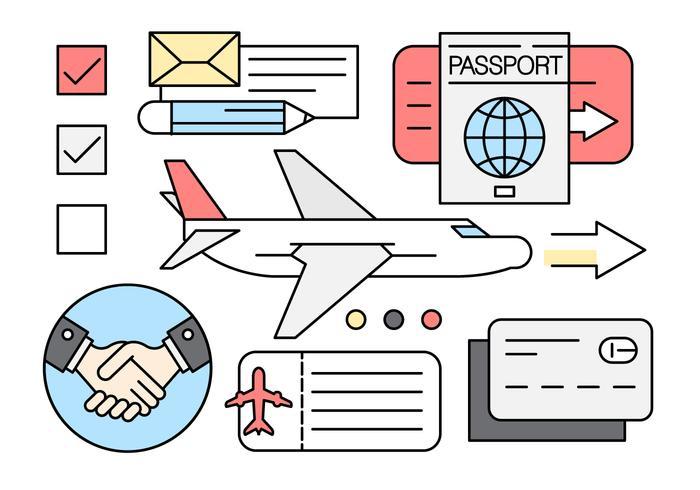 Icônes linéaires de voyage d'affaires