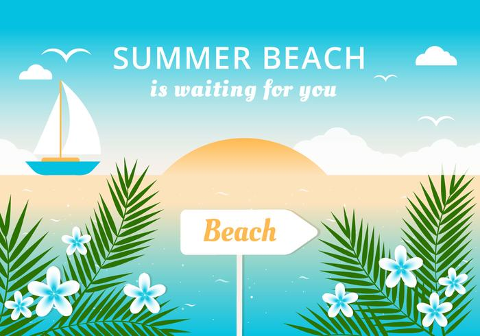 Free Flat Summer Beach Vector de fondo